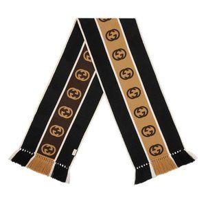 Gucci GG-jacquard Striped Wool-blend Scarf In Blac